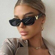 Occhiali da sole retrò Cat eyt Frame donna 2021 Luxury V occhiali da sole uomo moda rettangolo occhiali da sole in gelatina con cerniere in metallo UV400