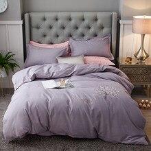 Nordic Stil 4 stücke Reine Baumwolle Bett Bettbezug-set Bett Blatt Kissen Feste Bäume Lila Licht Grün Rosa Braun blau Weichen