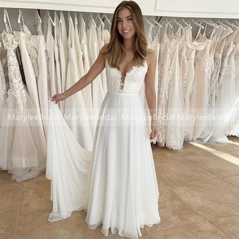 Vestidos de Novia de estilo bohemio, Sexy, cuello en V, tirantes finos,...