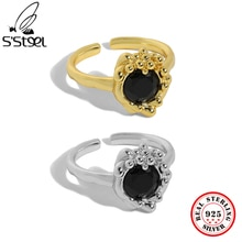 S'STEEL 925 Sterling Silver Niche Design Zircon Texture Opening Ring For Women's Aesthetic Minimalis