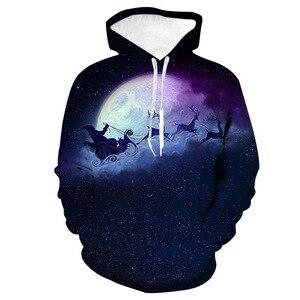 Unisex Christmas Running Elk 3D Digital Print Loose Hooded Sweater Pullover Women Men Xmas New Year Baseball Sweatshirt Hoodie