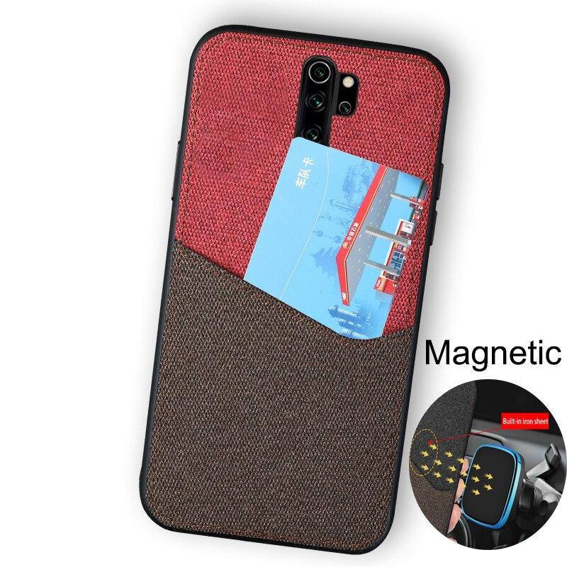 Funda con ranura para tarjeta para Xiaomi Redmi note 8 Pro 8T 9lite cc9, funda trasera de tela con puntadas, Fundas magnéticas para Xiaomi Mi 9T 9 9SE mi 8 7a F1