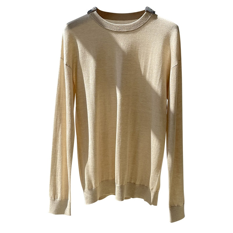 SHUCHAN NEW 2021 Thin Sweaters for Women 15% Cashmere 85% Silk Office Lady  Solid  Spring/Autumn  Regular Yarn Pullovers