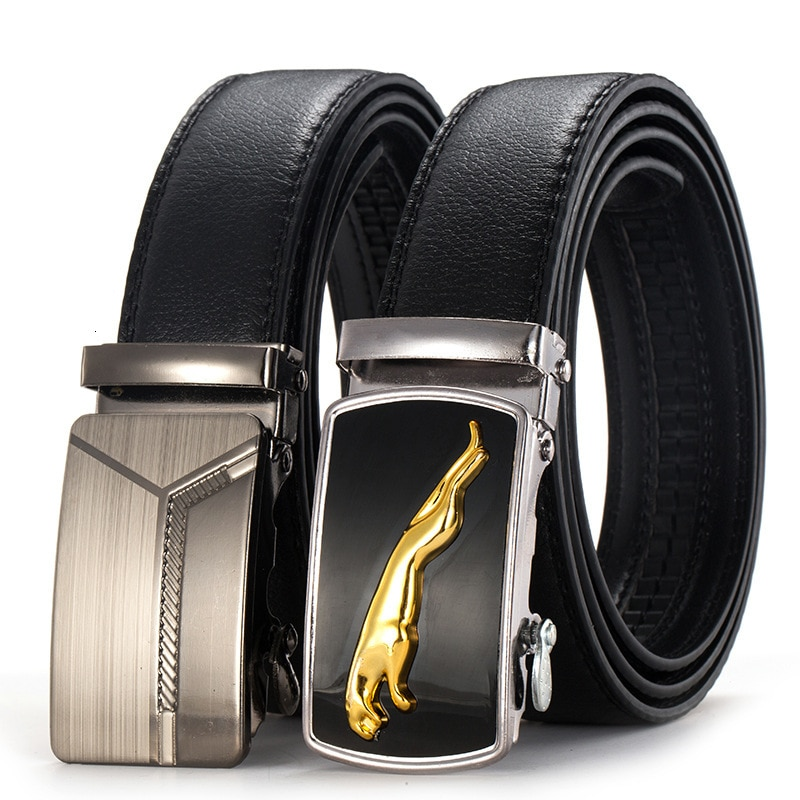 Peikong Fashion luxury Brand Automatic Buckle Business leather male waist belt for Men high quality Cowhide designer mens Belts