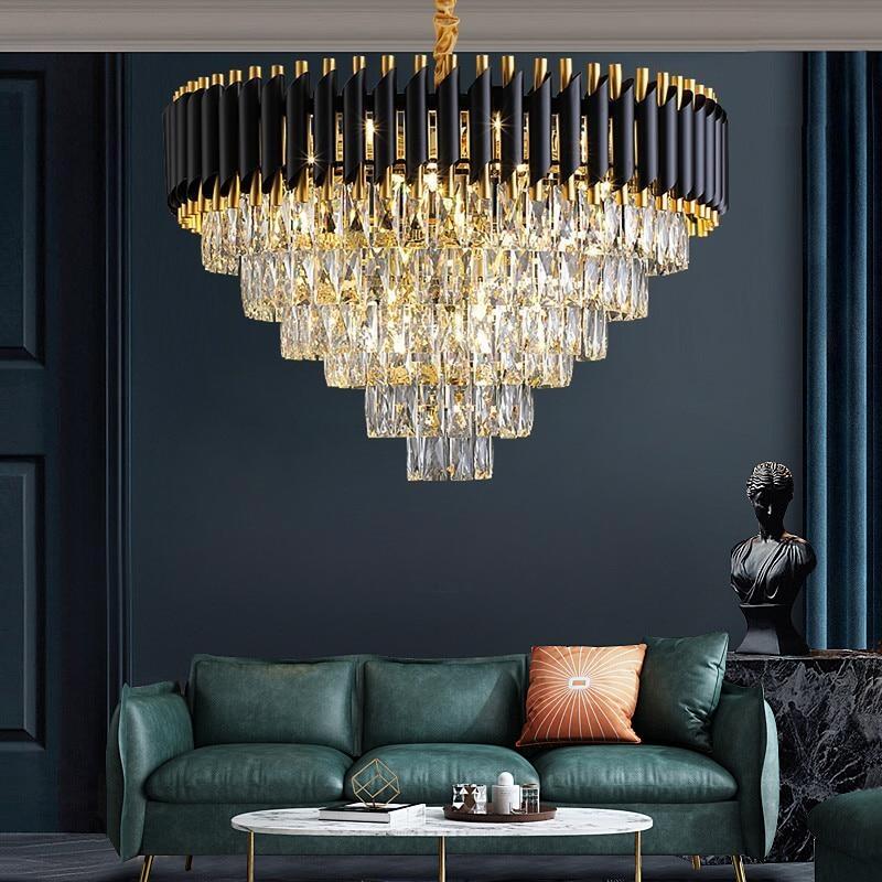 Роскошная черная металлическая светодиодная люстра, современный светильник К9, Хрустальная светодиодная Подвесная лампа, мебель для гости...