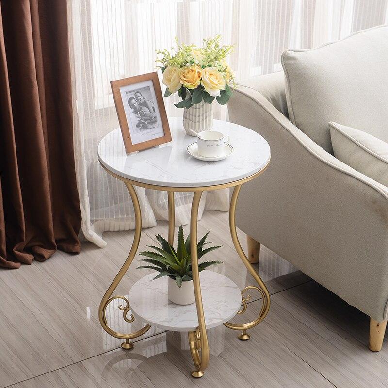 Nordic Light Luxury Marble Coffee Table Simple Living Room Sofa Side A Few Corners Single Double-decker Coffee Table Books