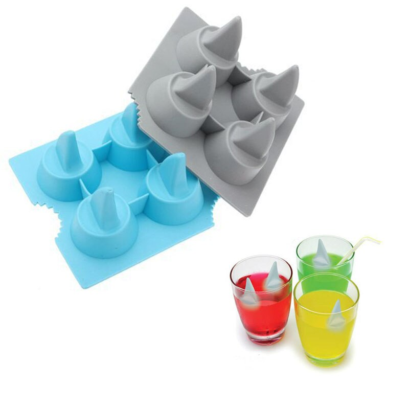 1pc Cocktail Whisky Shark fin Maker Ice Cube Tray 4 löcher Silikon Eis Formen DIY Form Küche Bar Zubehör liefert