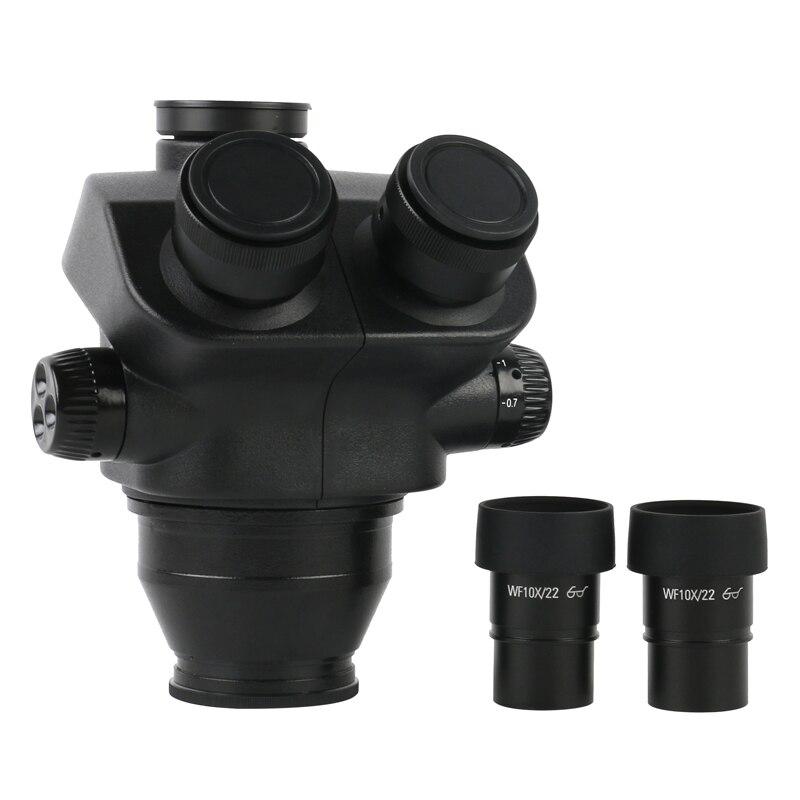 7X-50X 14X-100X التكبير ستيريو ثلاثي العينيات المجهر رئيس الجسم + WF10X/22 مللي متر العدسة المطاط حراس العين