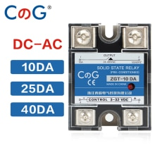 CG 10A 25A 40A DA Single Phase DC Control AC Heat Sink 220V Relay To 3-32VDC SSR-10DA 25DA 40DA Plastic Cover Solid State Relay