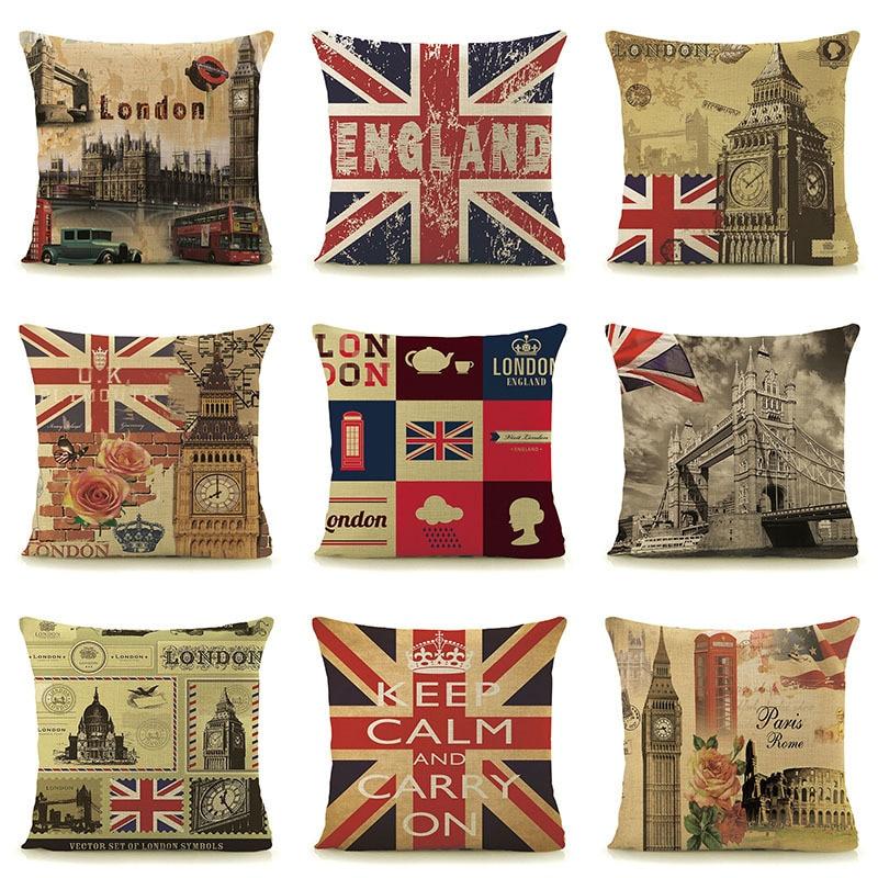 """Retro Design 18'' square Cushion Cover Pillow Case ENGLAND London Paris printed Car Home Decor, """"KEEP CALM and CARRY ON"""" 45x45cm"""