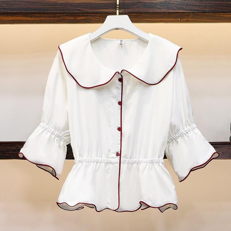 Nueva camisa Blusa de gasa con cuello de hoja de loto delgada de la exposición de comercio exterior de ebay Europa y los Estados Unidos l-xl spot