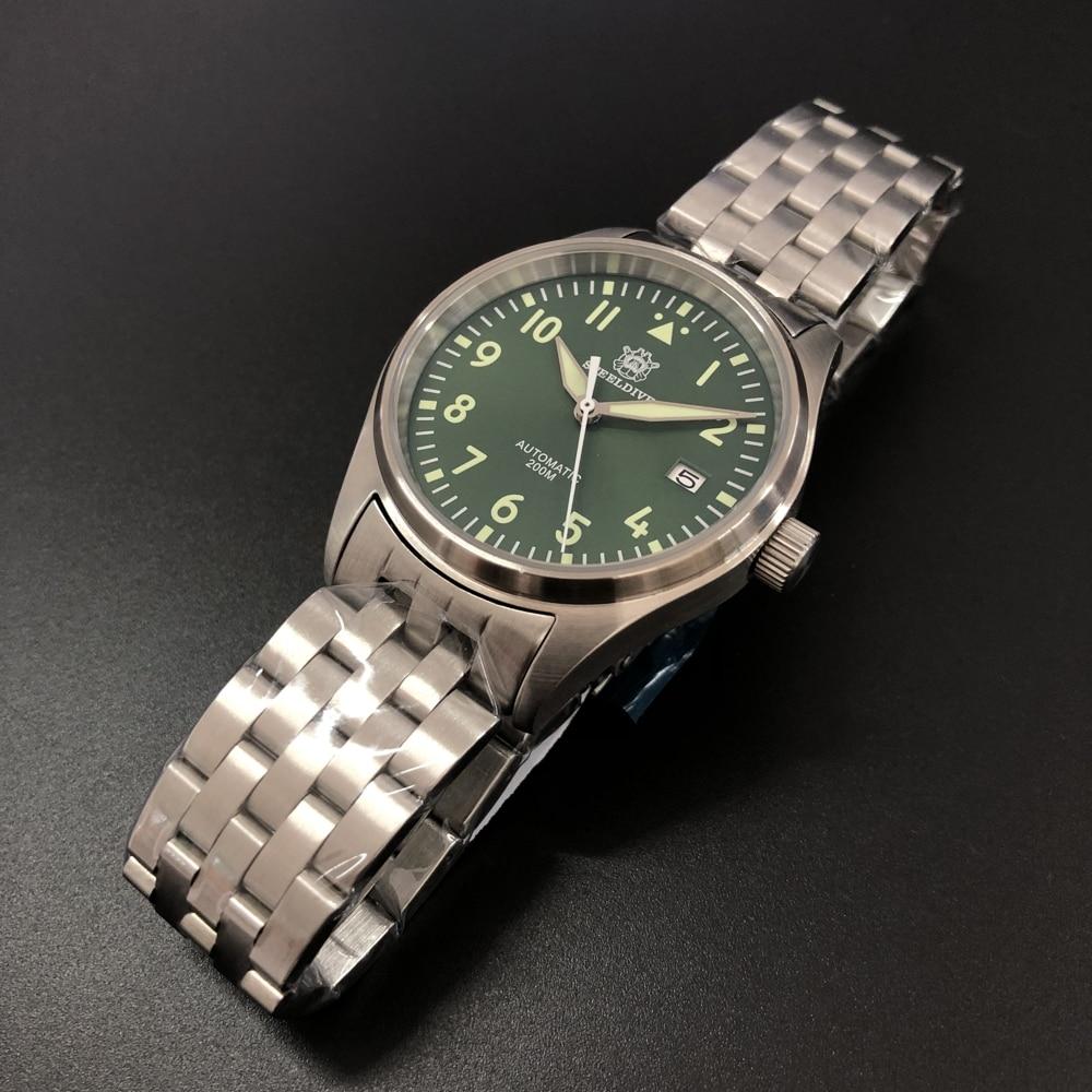 Reloj de piloto STEELDIVE de 200M, resistente al agua, relojes mecánicos NH35, cristal de zafiro, 200M, relojes de buceo, reloj de acero 316L