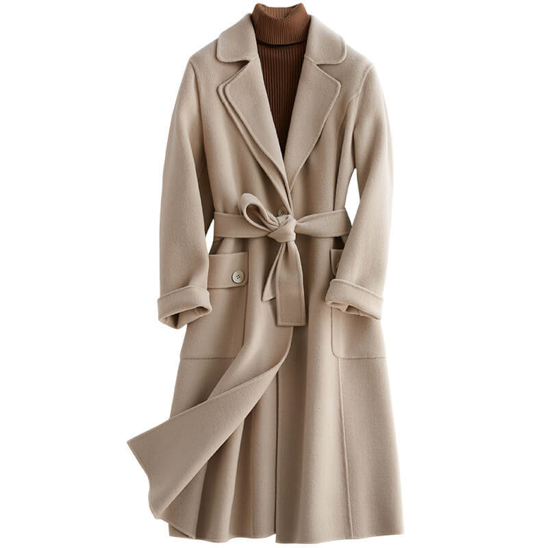 2020 nuevo código de error lana pura suelta abrigo de lana Chalaza alta de dos lados de lana