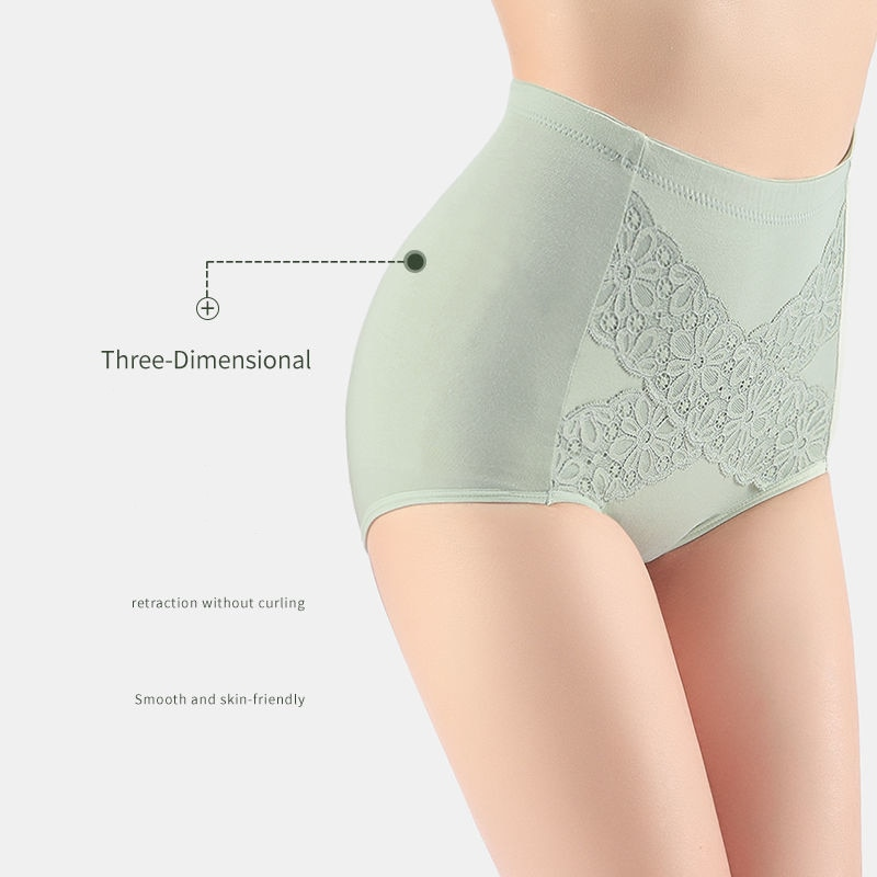 Plus Size L-5XL 4Pcs/lot High Waist Panties Women Cotton Sexy Briefs Underwear Body Shaper Breathable Comfort Female Intimates
