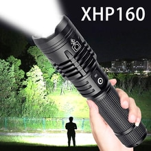 High Powerful XHP160 LED Flashlight Super Bright Zoomable Tactical Flashlight 18650 or 26650 Battery USB Rechargeable Torch