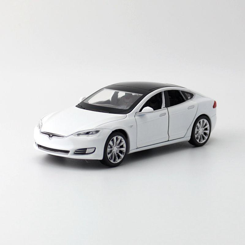 Caliente escala 132 Ruedas de fundición coche eléctrico puro Tesla modelo X 100D modelo de metal con luz y sonido atrás coche de juguete