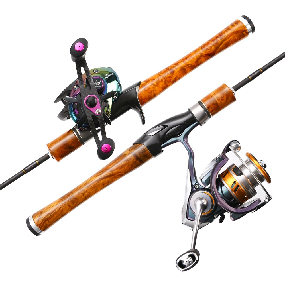 AFuLure Ultra-Soft Lure Rods FUJI Ring Solid wood handmade Fishing Rod Spinning/Casting 1.4m Portable Mini rod carbon rod enlarge