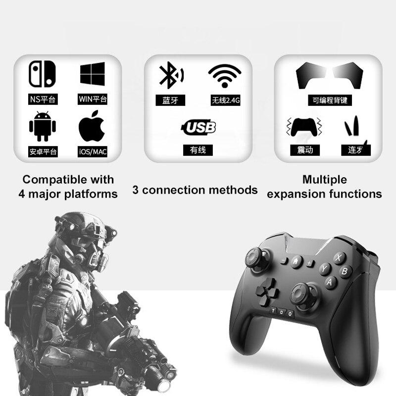 Bluetooth pro gamepad sem fio gamepad jogo de vídeo usb joystick interruptor pro controlador para nintendo switch/apple ios/mac os dispositivo