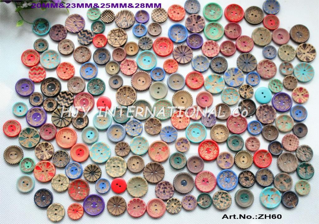 (40 g/bolsa) barniz de madera coser sombrero con botones accesorios de libro de recuerdos botones surtidos 20mm, 23nn, 25mm, 28mm-ZH60