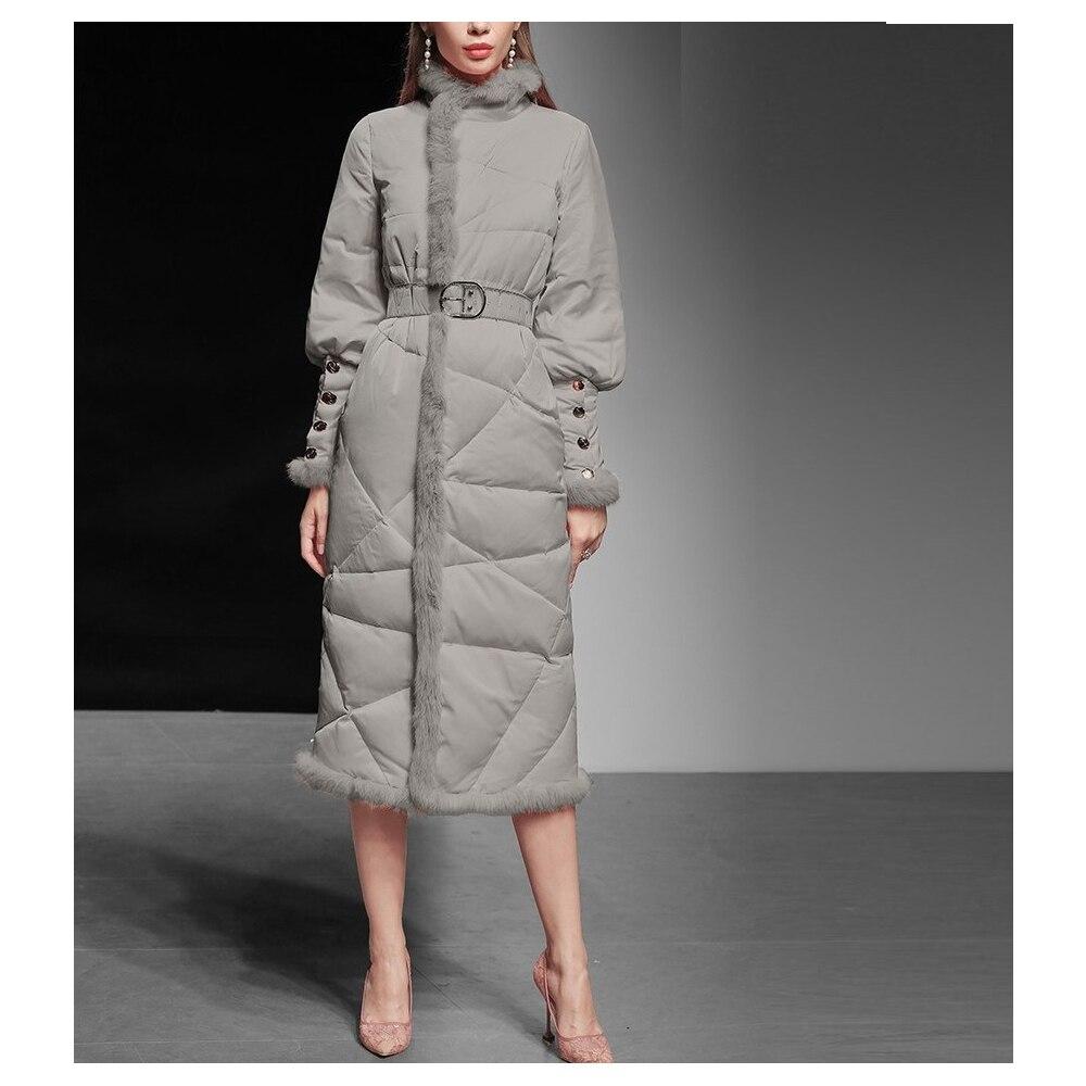 الشتاء المرأة الملابس 2021 جديد الوردي ضئيلة منتصف طول أسفل سترة المد سماكة الخصر الركبة طول الأبيض بطة أسفل مريحة