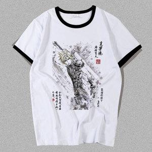 Anime Final Fantasy VII Remake Cloud Strife Cosplay T-shirt  T shirt Summer Cotton Short-sleeve Men women Tees tops