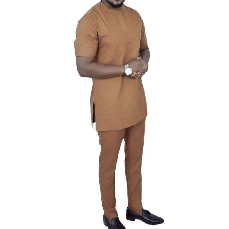 Conjunto de Camisa e Calça Sólida para Noivo Camisetas + Calças Feito sob Encomenda Masculina Moda Africana Manga Curta Feminina 2022 Cor