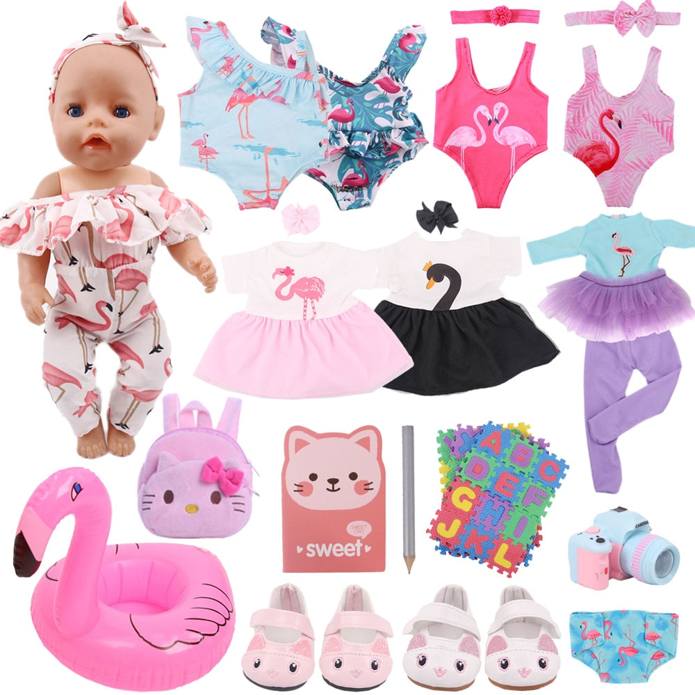 Doll Clothes Flamingo Dress Shoes Accessories For 43Cm Born Baby Fit 18 Inch American&43Cm Baby New
