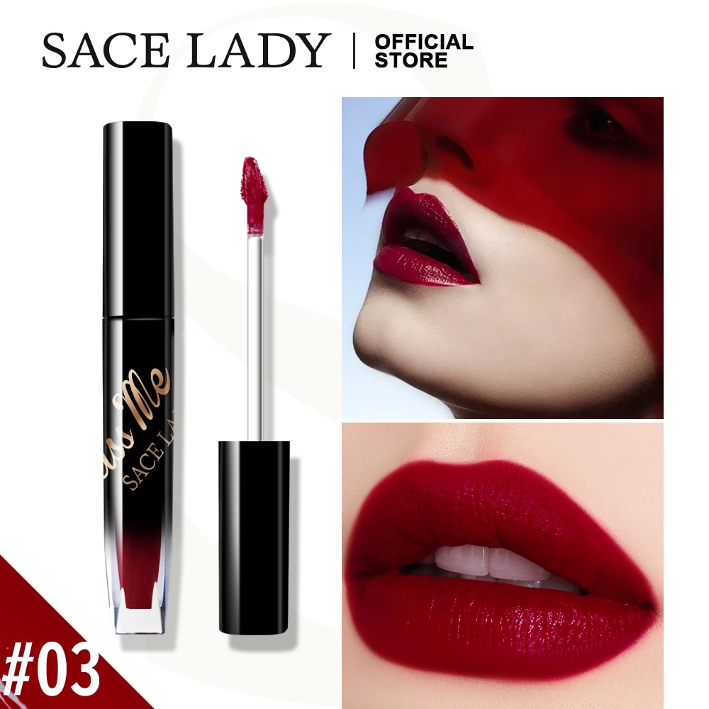 SACE LADY Lip Gloss Lipstick Makeup Red Liquid Tint Lips Stick Make Up Waterproof No Drying Matte Blush Cosmetics Wholesale