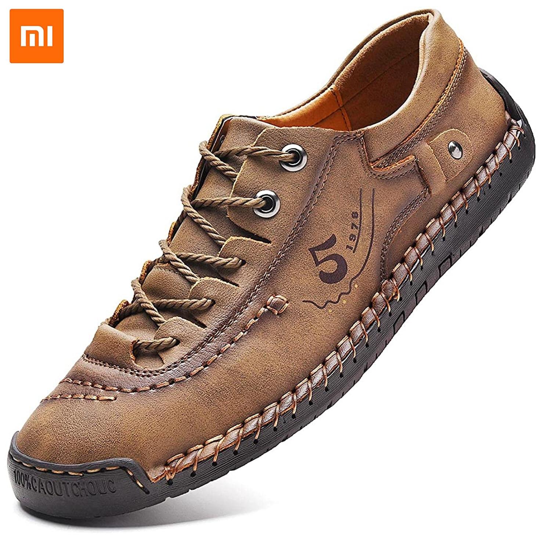 Кроссовки Xiaomi Mijia мужские кожаные, Повседневная модная дышащая обувь ручной работы, легкие лоферы, размер 38-48