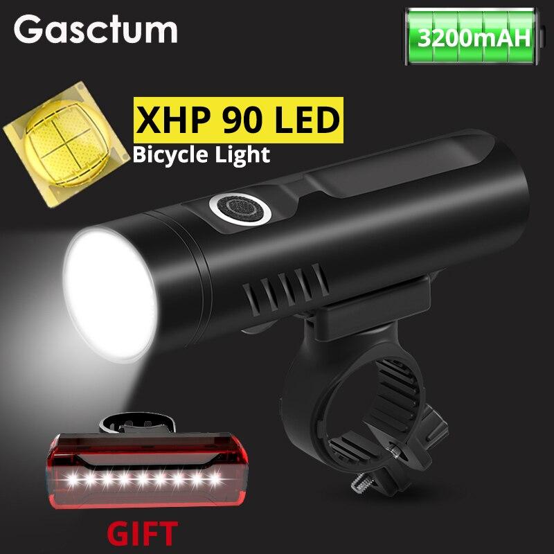 XHP90 luz LED de bicicleta 3200mAh Linterna recargable con USB P50 L2 T6 lámpara frontal de bicicleta impermeable linterna de ciclismo como banco de energía