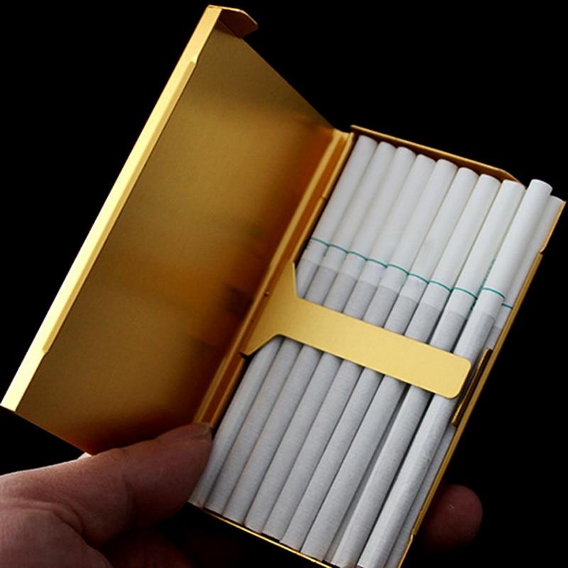 Liga de alumínio senhora magro cigarro caixa de bolso cigarros titular recipiente de armazenamento fumar acessórios sigara tabakasi