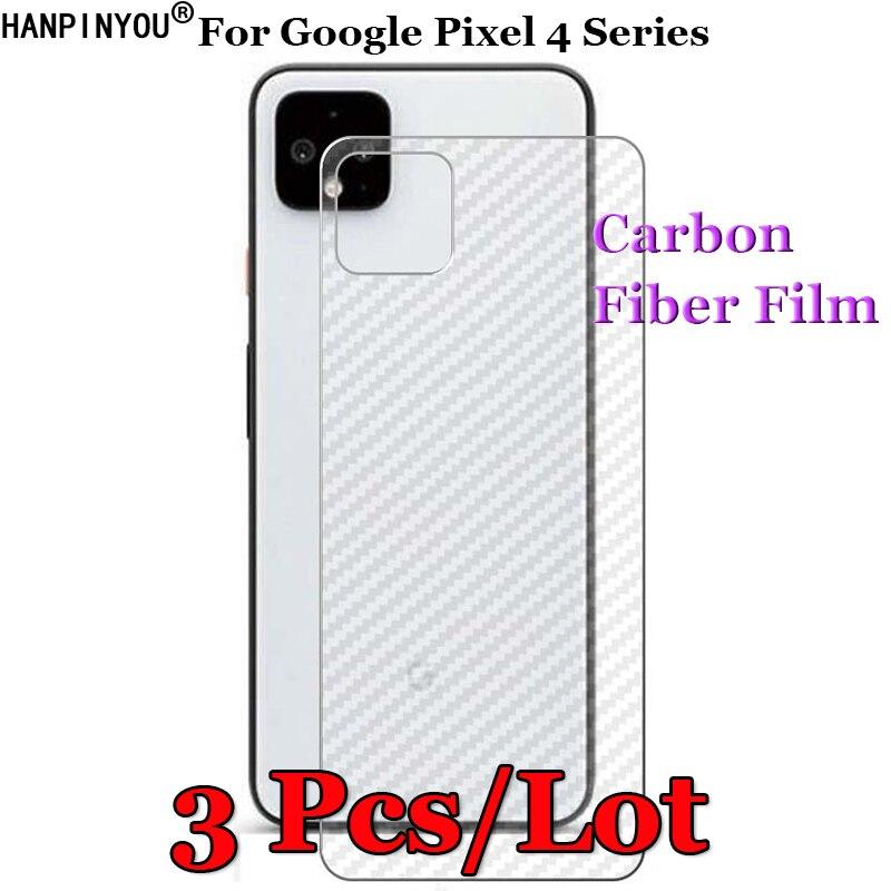3 unids/lote para Google Pixel 4 Pixel4 XL 4a 3D antideslizante claro de fibra de carbono Back Film Protector de pantalla pegatina protectora