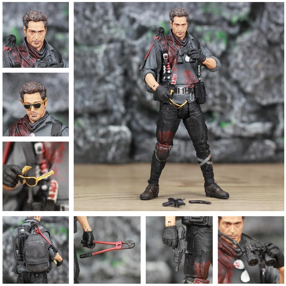 "Figuras de acción personalizadas de Marvel, Iron Man 3, The Mechanic, de 6 "", Iron Man, Tony Stark Legends, Robert Downey Jr., gafas, juguetes de película"