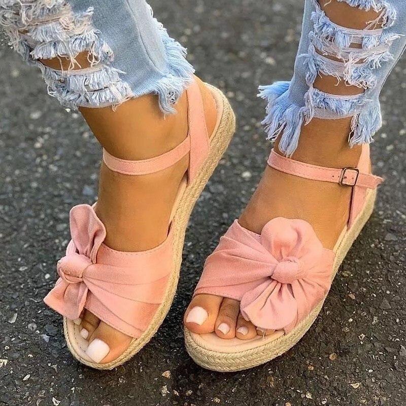 Todos os Dias Bonito e Confortável Verão Legal Senhoras Sandálias Arco nó Casual Sapatos Femininos Plataforma Femininas Tamanho Grande 35-43