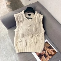 2021 autumn womens new knitted vest sweater fashion casual round neck jacquard chain link knit sweater top ladies