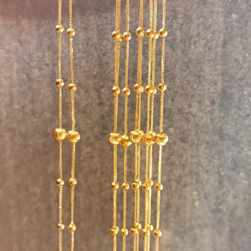 CHUHAN 18K Gold 5mm Golden Ball Bracelet Adjustable AU750 Pure Gold Gypsophila Chopin bracelet Jewelry for Women Fine Jewelry