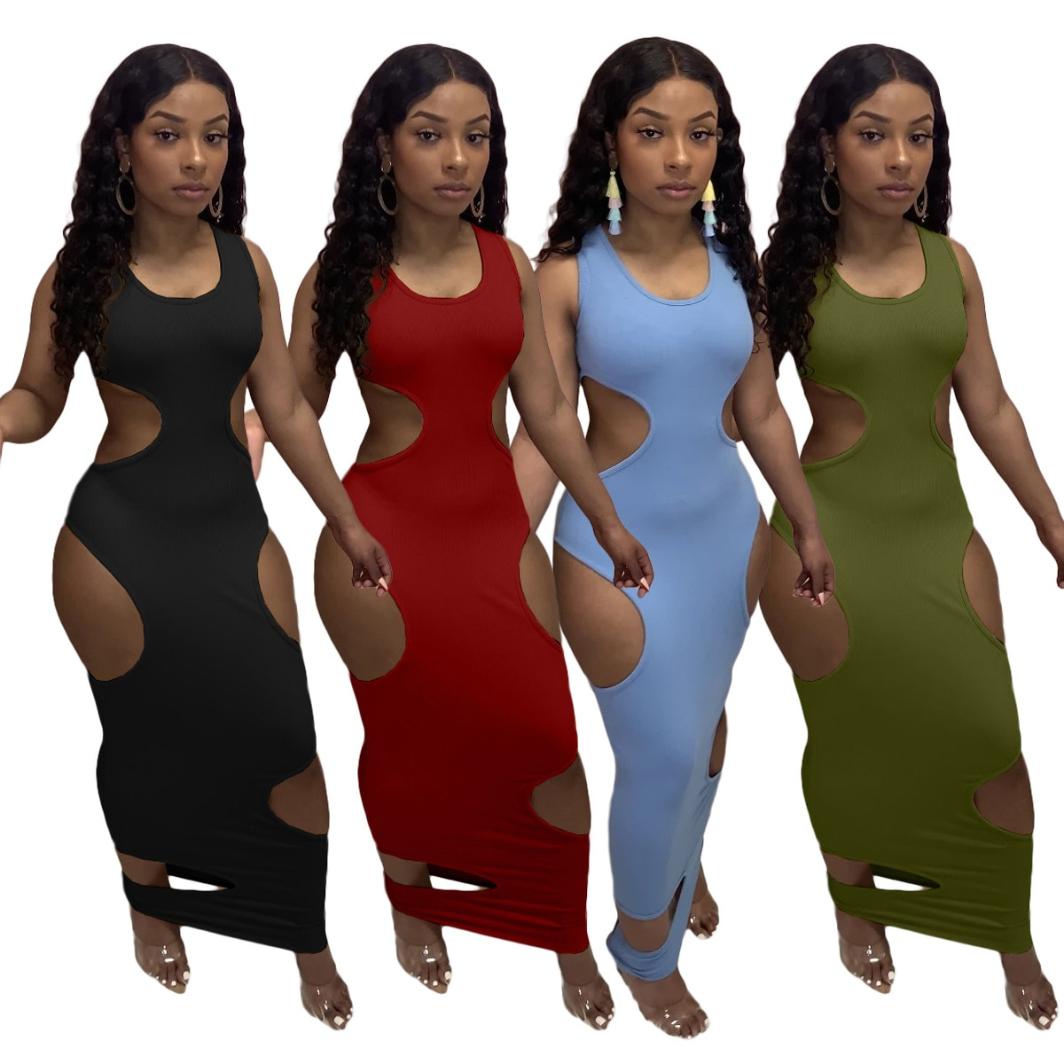 Sexy Women Dress Maxi Dresses Sleeveless Party Night Hollow Out Solid Color Summer Outfit Vestidos
