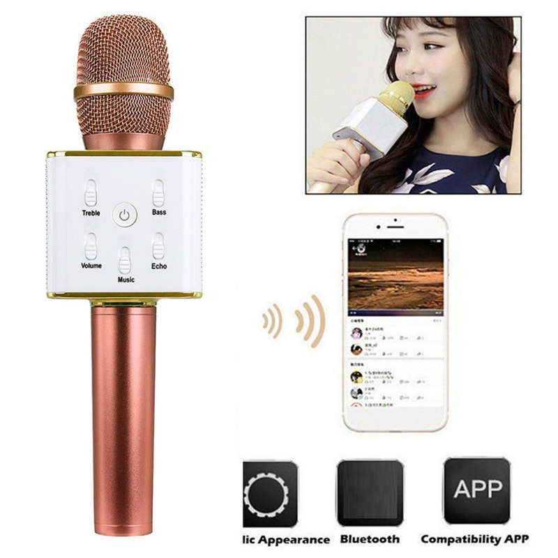 Altavoz inalámbrico Original marca Q7 Bluetooth Karaoke micrófono reproductor profesional con carcasa para Iphone para Android
