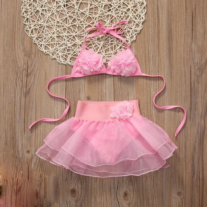 1-6Y trajes de baño de color rosa Sling Flower Tops + vestido de bola faldas de malla 2 uds conjunto de traje de baño para niños y niñas ropa de playa de verano