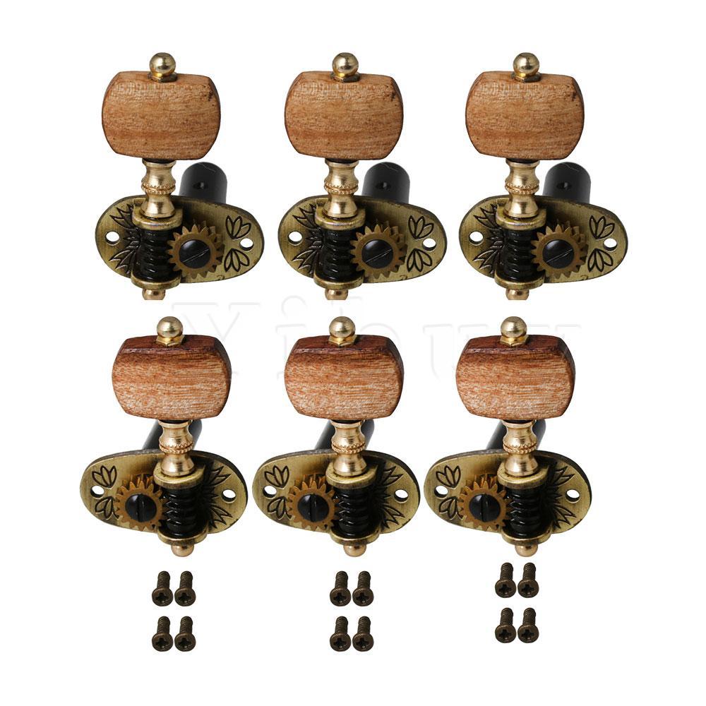 Yibuy 6 uds. De aleación de Zinc de bronce para guitarra clavijas de afinación 3L3R con mango de Acacia