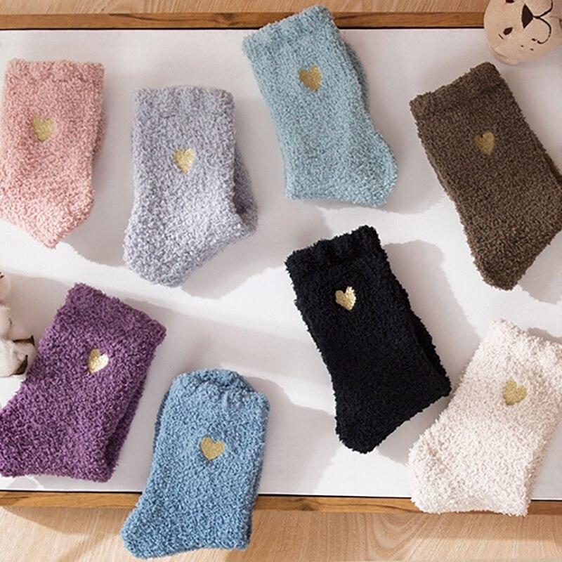 WOMEN  NEW  Autumn Winter Socks Gold Silk Heart Embroidery Socks Coral Velvet Thick Warm Sleep Home Floor Socks