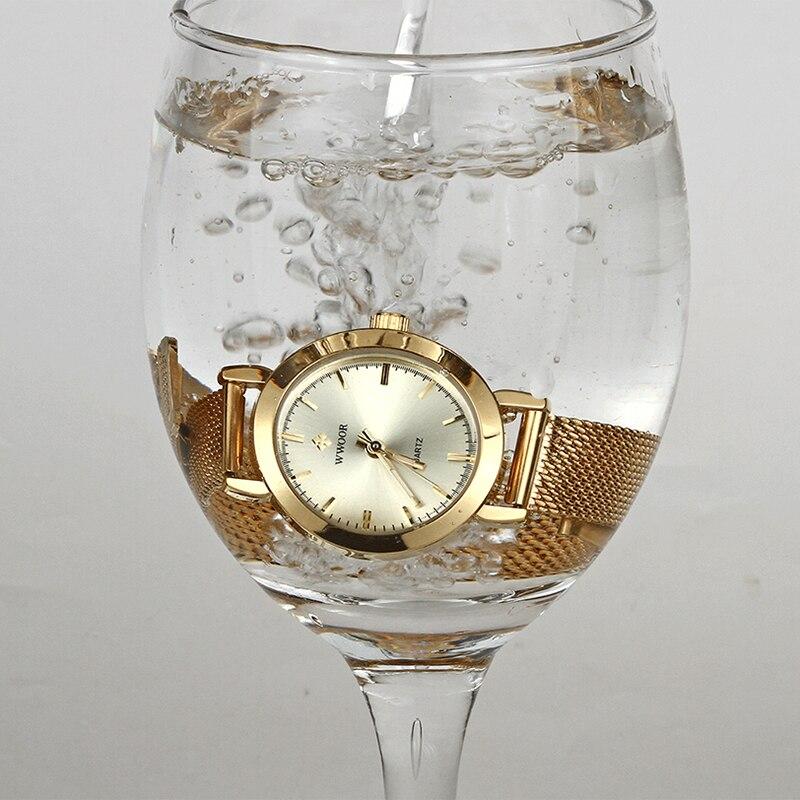 WWOOR Watch Women Luxury Brand Ladies Quartz Hand Clock Dress Small Gold Watch Women Stainless Steel Mesh Casual Bracelet Watch enlarge