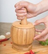 Manual Press Garlic the Garlic Mashed Bamboo Tool Masher Press Garlic Bowl Mashing Medicine Jar Wood Mortar & Pestl Kitchen Tool
