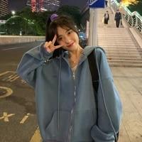 new zip up women korean style hoodies vintage solid color long sleeve oversized hooded sweatshirt lady women casual large coats