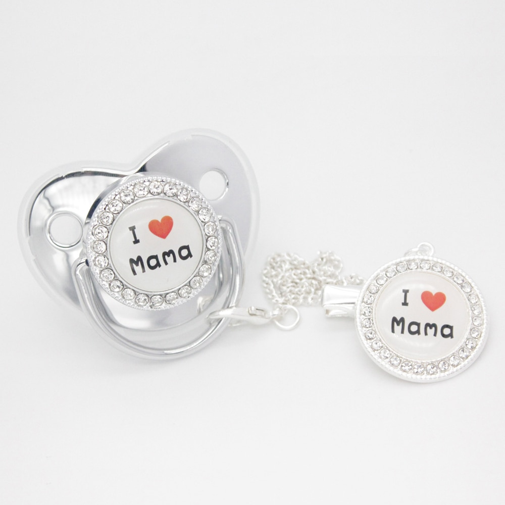 Luxury I Love MaMa BlingBling Silver Baby Pacifier With Clips Chupeta Sucette Infant Silicone Dummy Nipples Newest Baby Pacifier
