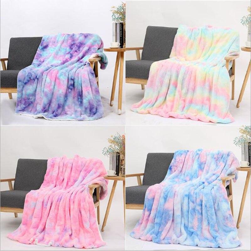 بطانية قطيفة ملونة فائقة النعومة بألوان قوس قزح ، غطاء أريكة ، فرو ، دافئ ، لـ Winte