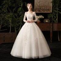 wedding dress fashion flowers embroidery backless o neck full sleeves plus size wedding gowns for women vestidos de novia g163