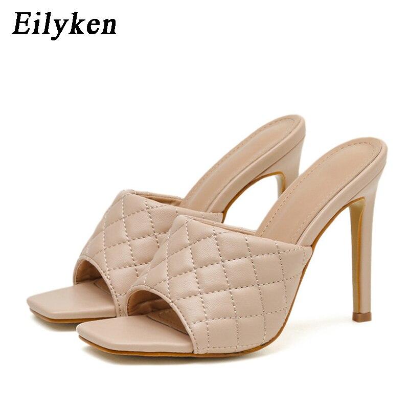 Eilyken verano zapatillas de moda de alta calidad de las mujeres sandalias Sandalias de tacón alto 2020 señoras cuadrado del dedo del pie zapatos de tacones de aguja
