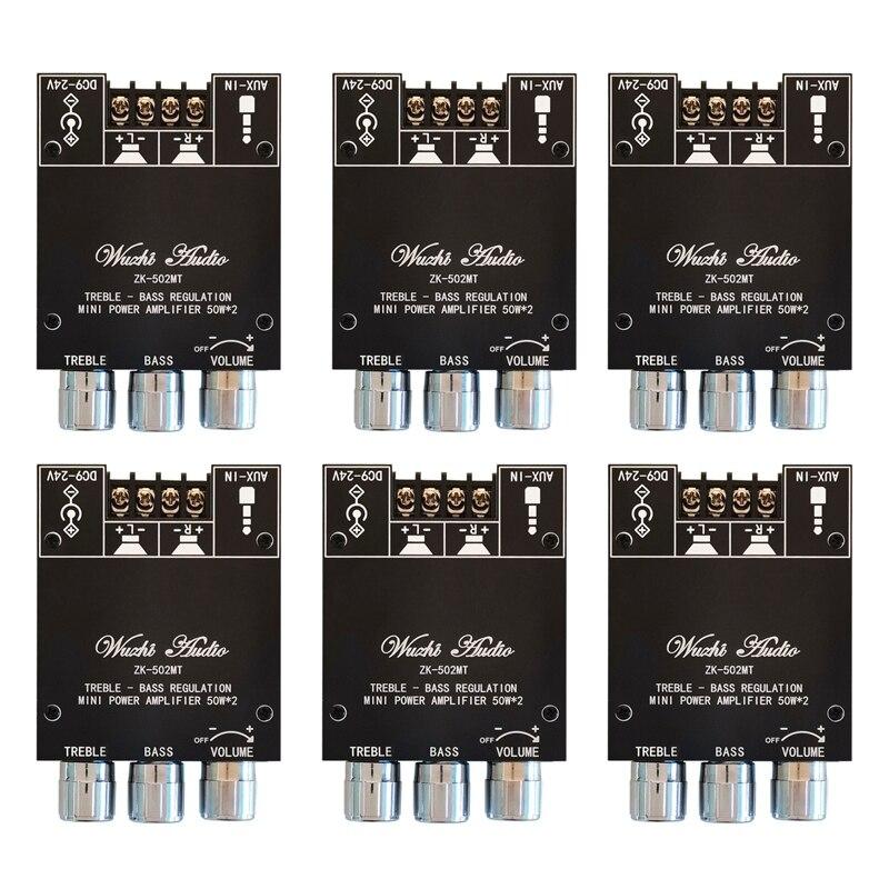 6X ZK-502MT بلوتوث 5.0 جهاز تضخيم الصوت مجلس 2.0 قناة عالية الطاقة الصوت مكبر صوت استيريو مجلس 2X50W باس أمبير