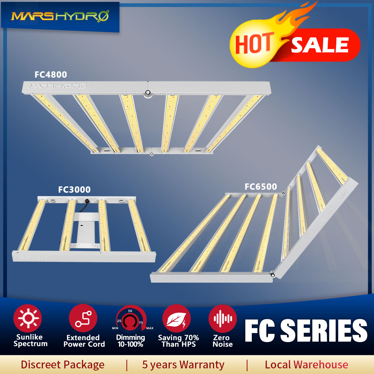 Mars Hydro FC 3000  4800 6500 Sunlike Led Grow Light Dimmable Full Spectrum Samsung LM301D Chips For Indoor Hydroponics Plants